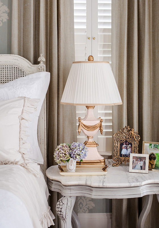 Melea Markell's Antoinette Rose Lamp on a bedside table