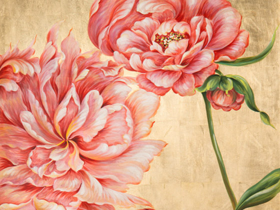 Melea Markell Gold Floral Panel detail