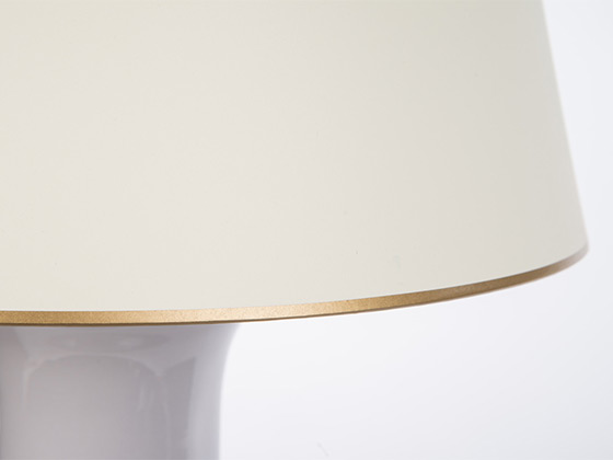 Juliette Lavendar Lamp gold trim shade detail